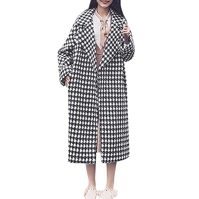 df7160fe03dc cloom damen kleidung CLOOM Wollmantel Lang Wolljacke mit Knopf Plaid  Wintermantel Damen Jacke Warm Elegant Trenchcoat Übergangsmantel