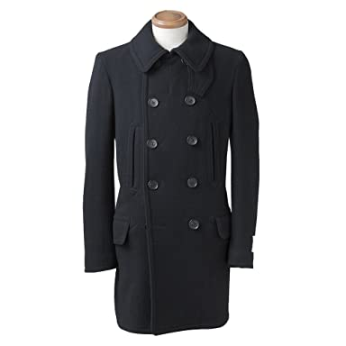 Ring Jacket New Baloon Pea Coat: Black