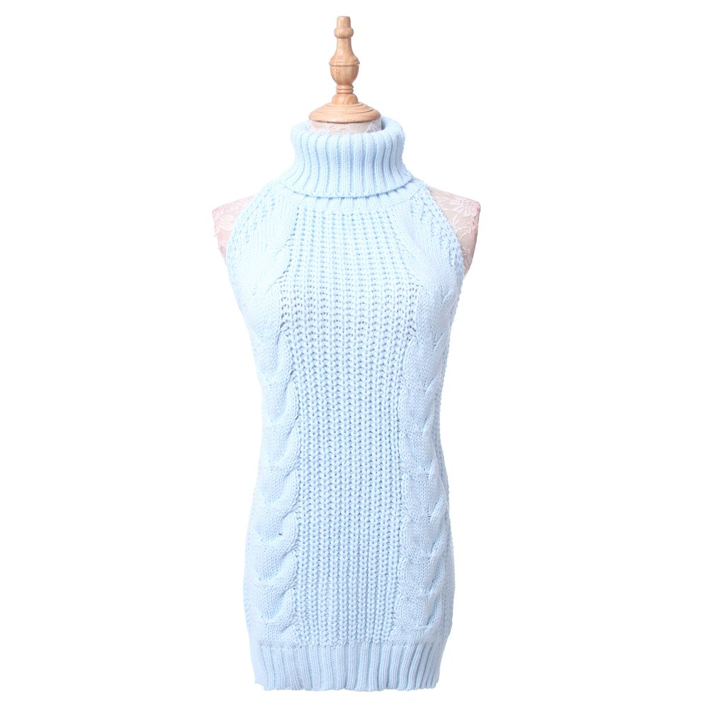 ROLECOS Womens Japanese Anime Sexy Backless Turtleneck Vest Sweater Knit Tank Top Blue CC2946