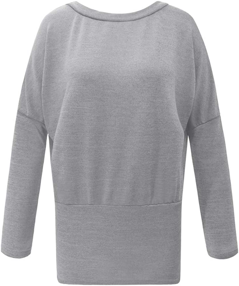 Colmkley Womens Casual Bat Sleeve Sweater Long Sleeve Splice Tops Pullover Solid