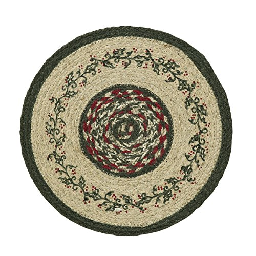VHC Brands Rustic & Lodge Holiday Tabletop & Kitchen-Holly Berry Jute Red Stenciled Tablemat, 13
