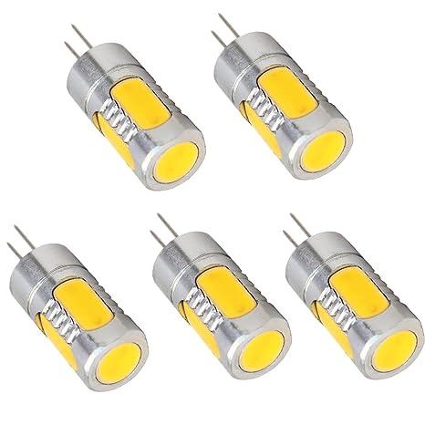 Aoxdi 5X G4 5W LED Bombillas, Blanco Cálido , Dimensiones (OXL): 14