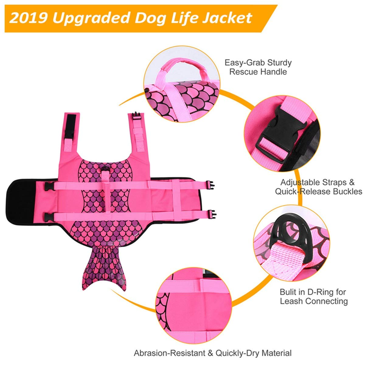 5 Sizes AOFITEE Dog Life Jacket Pet Safety Vest Adjustable Dog Lifesaver Ripstop Pet Life Preserver with Rescue Handle for Small Medium and Large Dogs