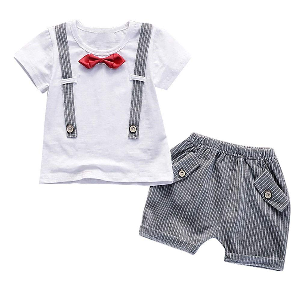 Baby Boys Hipster Summer Bowtie Strap Short Sleeve T-Shirt Striped Shorts 2 Pcs Outfits Set Toddler Infant Clothes