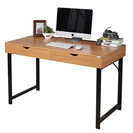 Dland Home Office Computer Desk With 2 Drawers 858 T, Composite Wood Board  With