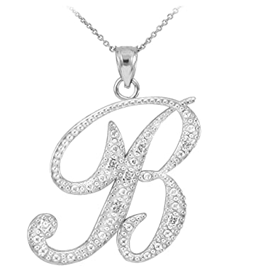 hi b carat white in pendant main letter gold alphabet initial necklace whwh diamond