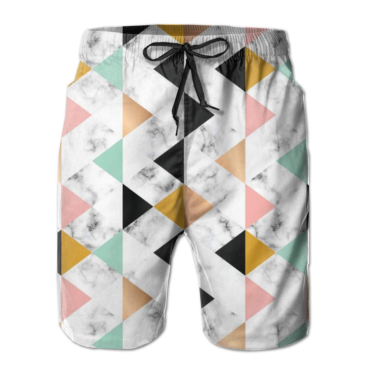HZamora/_H Men Marble Texture Golden Geometric Summer Breathable Quick-Drying Swim Trunks Beach Shorts Board Shorts
