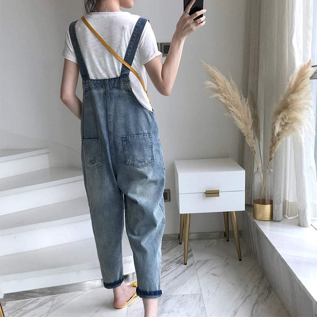 Women Denim Jumpsuits and Rompers Sleeveless Adjustable Strap Overalls with Pockets Casual Summer Wide Leg Pants Rompers