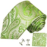 Paul Malone Necktie, Pocket Square and Cufflinks 100% Silk Green Paisley