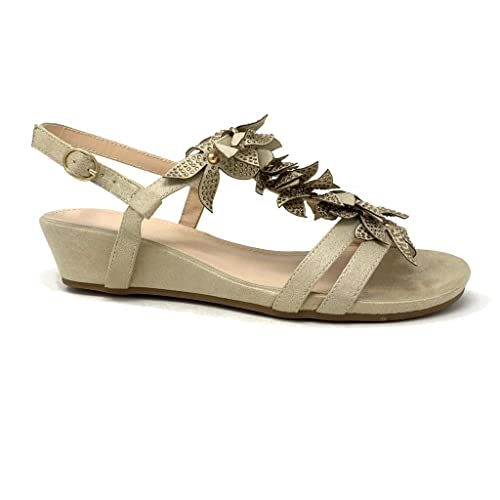 5b049c95bc Angkorly - Chaussure Mode Sandale Romantique Bohème salomés Femme Fleurs  Perle Talon compensé 4 CM -