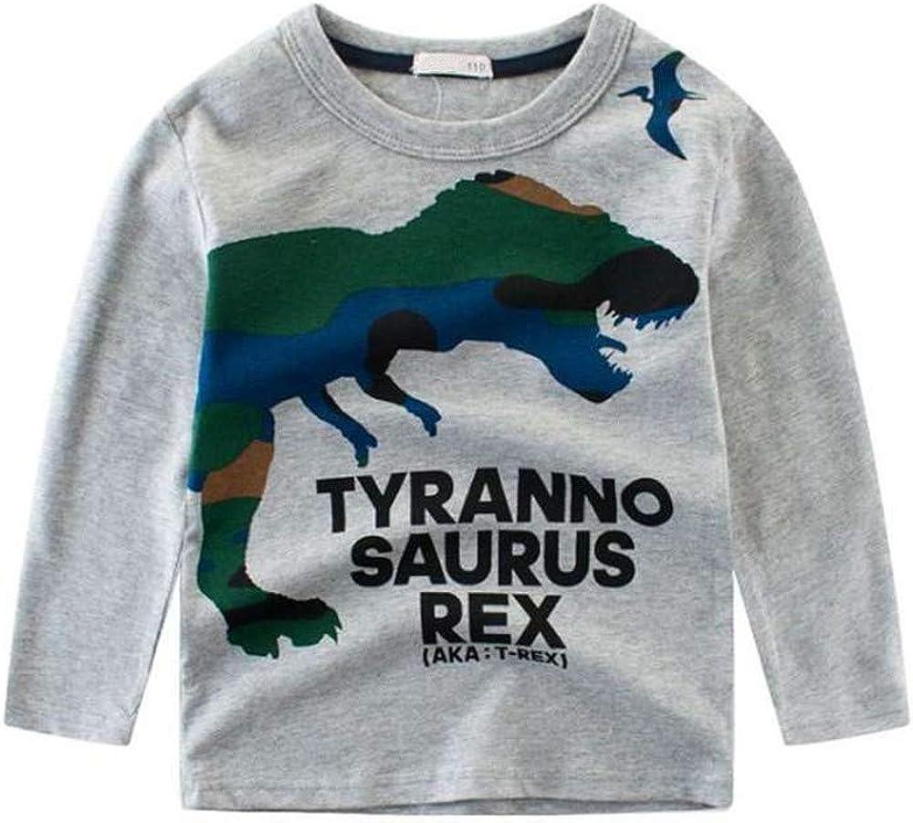 ZPW Boys Cotton Long Sleeve T-Shirt Kids Dinosaur Printed Tees