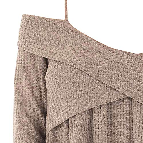 39a88e5362a DressLily Cold Shoulder Crisscross Tunic Sweater Women Straps Long Sleeve  Knitwear Pullover Shirt Tops Light Khaki
