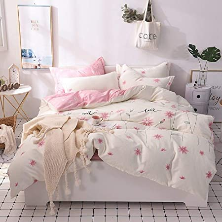 LOIKHGV Juego de cama de 4 piezas,Juego de sábanas 100% algodón doble tamaño queen