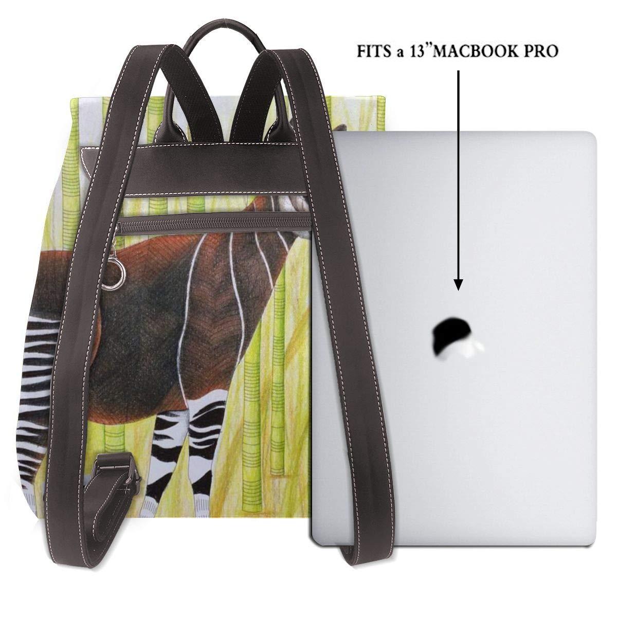 Skydd Okapi giraffer kvinnor mode äkta läder ryggsäck flickor resa skola mini axelväska Protection Okapi Giraffes