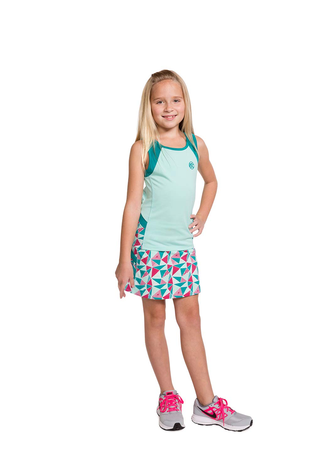 Girls Tennis & Golf Tank and Skirt Set with Built in Shorts - Beach Glass Size/Aqua Size S
