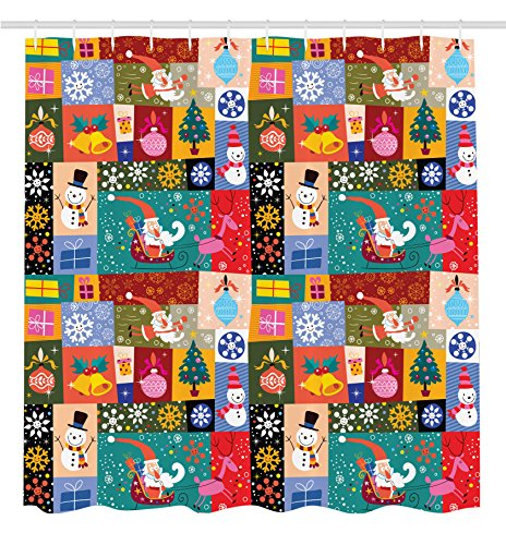 Ambesonne Christmas Decorations Collection, Modern Design Xmas Theme with Funny Christmas Winter Patterns Kids Children Decor, Polyester Fabric Bathroom Shower Curtain Set with Hooks, Multi Sleigh Bells Ornament Collection