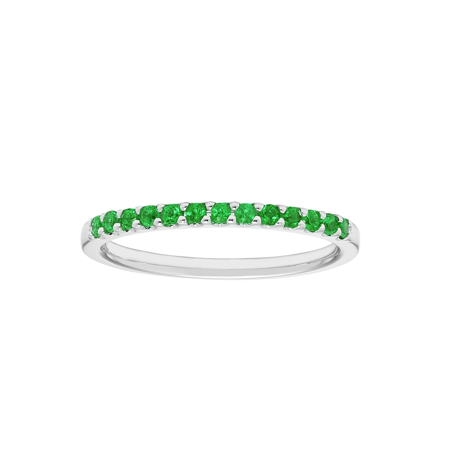 14K White Gold 1/5 Cttw Genuine Emerald Stackable 2MM Wedding Anniversary Band Ring - May Birthstone, Size 6