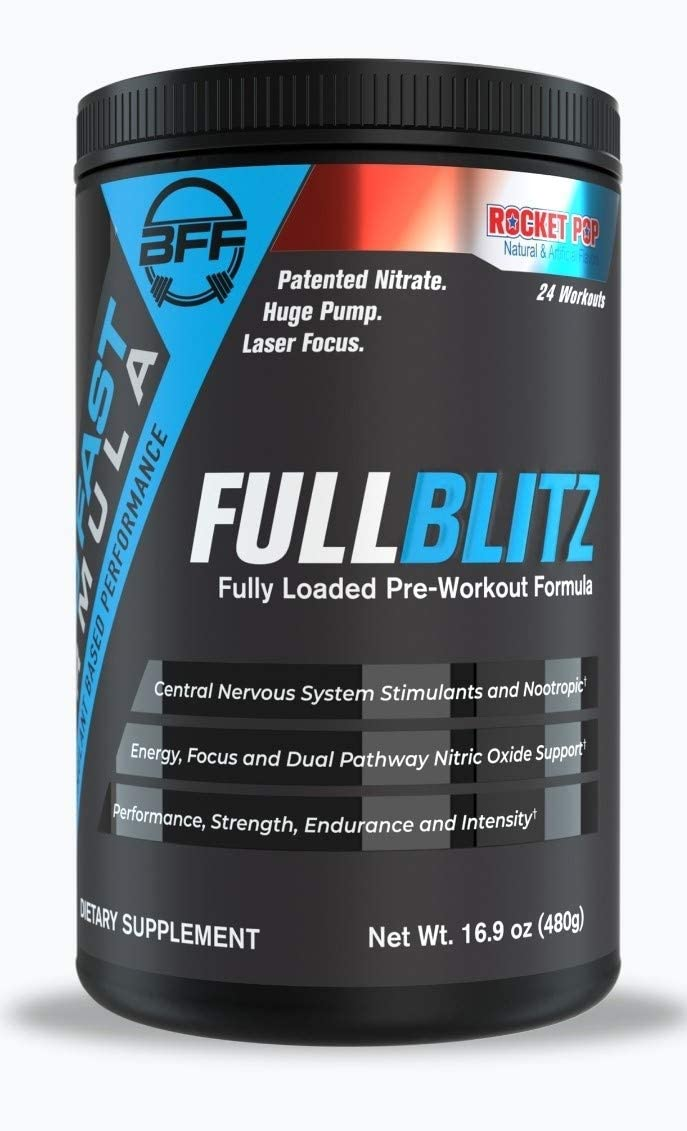 FULLBLITZ by BUILD FAST FORMULA Fully Loaded Pre-Workout Energy, Focus NOOTROPIC Dual Nitric Oxide Support with Patented NO3-T for Muscular Endurance and Pump Rocket Pop