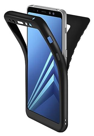 Funda Galaxy A8 2018 Negro, ivencase Carcasa Samsung A8 2018 TPU Flexible Silicona Premium Back Bumper + Trasero Suave Skin Cover Protección de Borde ...