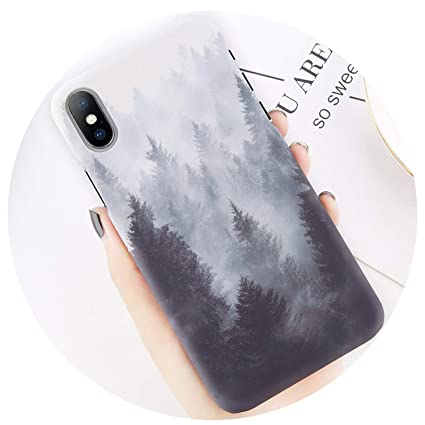 Phone Case for iPhone 8 7 Plus Mountain Peak Forest Back Cover for ...