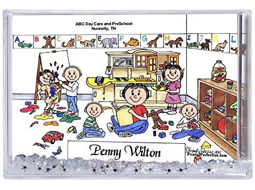 Personalized Friendly Folks Cartoon Snow Globe Frame Gift: Day Car Worker - Female Great for Pre-K & Kindergarten Teacher, montessori school
