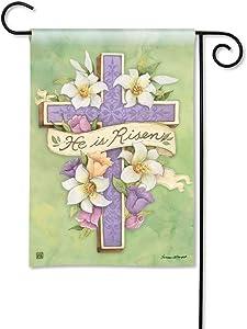 BreezeArt Studio M Easter Cross Decorative Spring Garden Flag – Premium Quality, 12.5 x 18 Inches