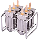 Stainless Steel Popsicle Mold and Rack Homemade Frozen Treat Maker for Toddlers Kids Adults - Set of 6 Ice Pop Maker with 50 Reusable Bamboo Sticks 10 Silicone Seals 20 Pop Bags and 1 Cleaning Brush