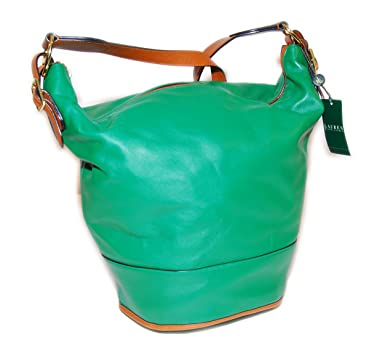 Ralph Lauren Polo Womens Handbag Shoulder Tote Bag Carryall Leather Green  Saddle