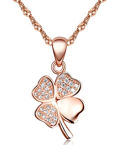 e6caa25cfd8 Image Unavailable. Image not available for. Color  Infinite U Women s  Classic Heart Cloverleaf Pendant Necklace 925 Sterling Silver Rhodium  Plated Cubic ...