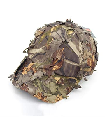 783a0133 3D Unisex Leaves Camo Ghillie Caps Outdoor Hunting Fishing Bionic Camo Hats  Army War Games Camo