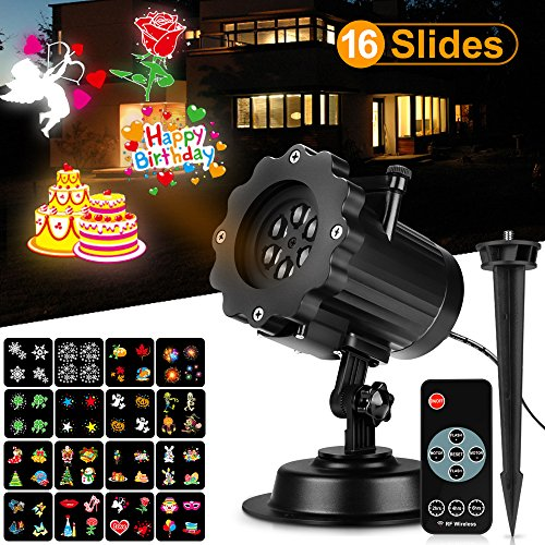 Holiday Projector Light with Wall-through RF Controller 16 Slides Woodeey Halloween Christmas LED Landscape Projector Light Decorative Lighting for Outdoor and Indoor