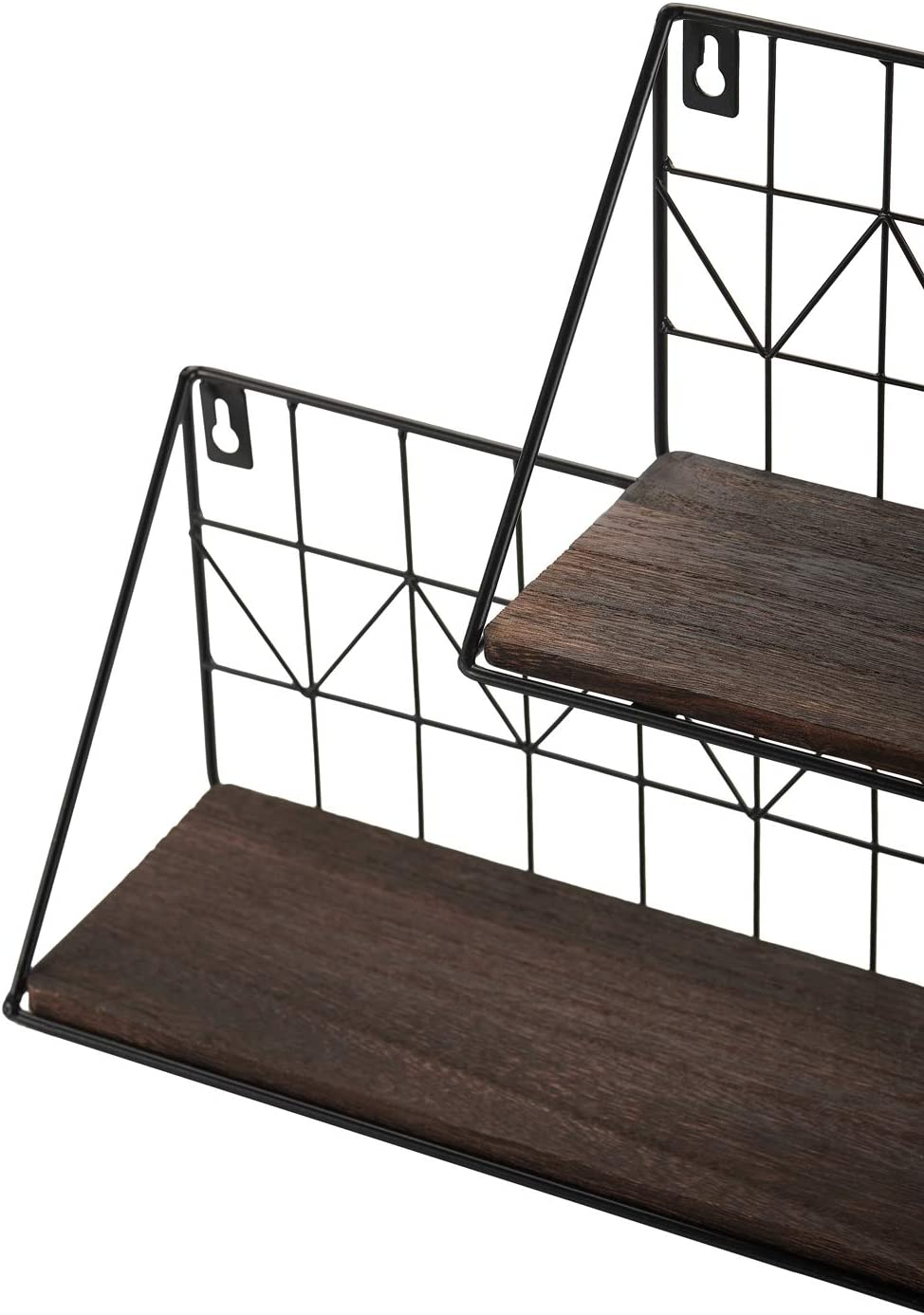 17 Inch Mkono Floating Shelves Wall Mounted Set of 2 Modern Wood Wall Storage Shelves with Metal Wire Display Shelf for Bedroom Living Room Bathroom Kitchen Office
