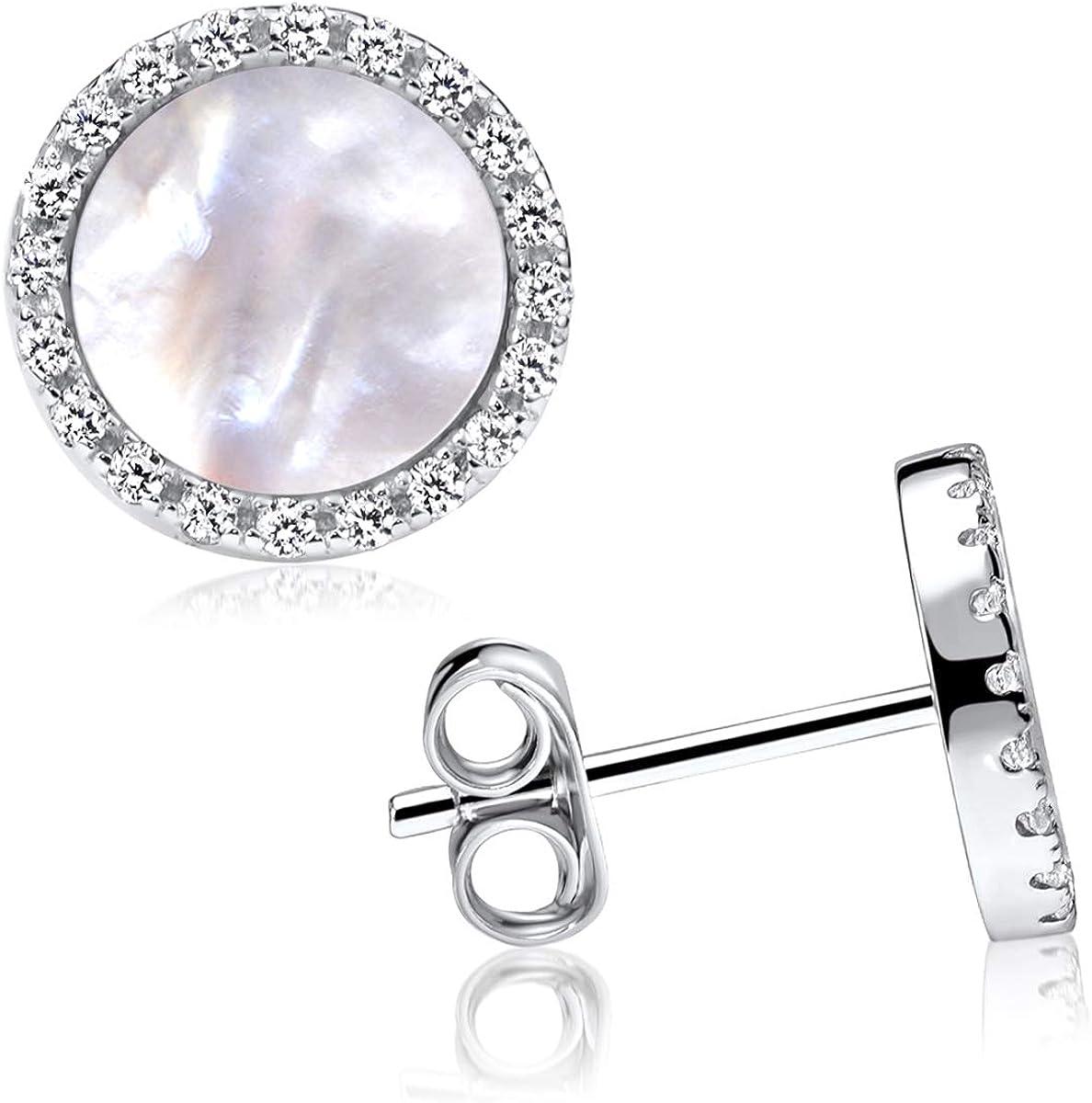 MATERIA - Pendientes de mujer de plata 925 – Pendientes de piedras preciosas con circonita – 5 colores con estuche de regalo