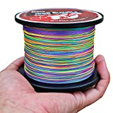 Sougayilang 500m/547Yards 4 Strands 12lb-72lb Multifilament Pe Superbraid and Braided Fishing Line (Grey Yellow Black Green Multicolor)