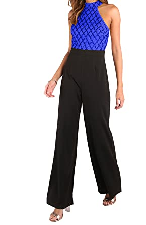 9ce49ba799f Amazon.com  Fashion Sequined Patchwork Zipped Jumpsuits Halter Neck Off  Shoulder Sleeveless Top and Black Wide Leg Long Pants Rompers  Clothing
