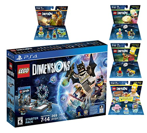 Lego Dimensions Starter Pack + Scooby Doo Team Pack + The Simpsons Homer Level Pack + Bart Simpson + Krusty Fun Packs for Playstation 4 or PS4 Pro Console by WB Lego