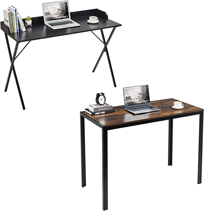 "Home Computer Desk, Alecono 47"" Sturdy Writing Desk with Raised Edge Easy Assemble Metal Frame Study Desk for Home Office Writing Workstation, Black"