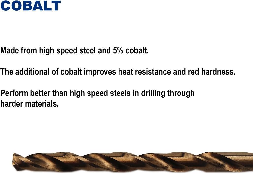 Pack of 12 Stainless Steel 3//32-Inch Cobalt Steel M35 Jobber Length Twist Drill Bits for Hard Metal