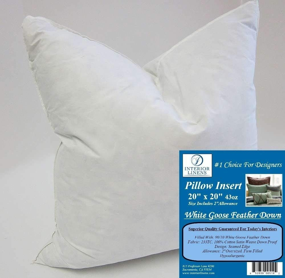 20'' x 20'' 43oz. Pillow Insert: 90/10 White Goose Feather Down - 2'' Oversized & Firm Filled (Actual Size: 22''x22'')