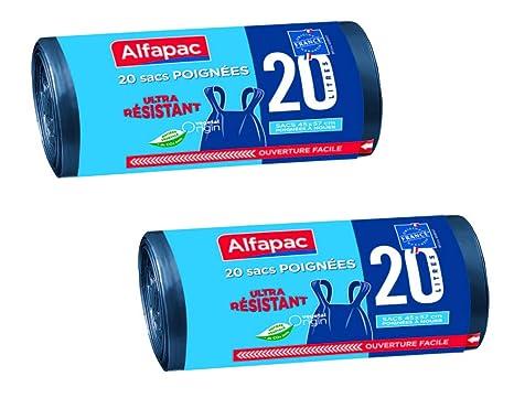 Alfapac - 20 Bolsas de Basura con Asas de 20 l ...