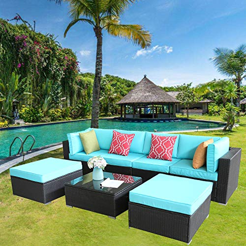 Furnimy 7PCS Outdoor Patio Furniture Sets Sectional Conversation Sofa Set Espresso Rattan Wicker with Cushions and Tempered Glass Coffee Table (MS-0916-EXP-TRQ)