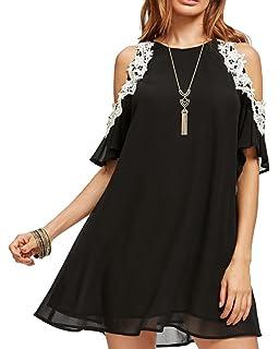 b7568bf35106 Aofur Women's Summer Cold Shoulder Tunic Top Dresses Loose Chiffon Casual  Short Sleeve Swing T Shirt