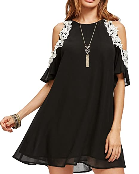 90ac7db67a3 Aofur Women's Floral Lace Cold Sleeve Loose A Line Summer Chiffon Tunic  Dress Plus Size S