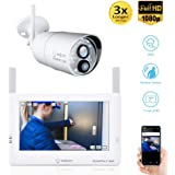 SEQURO GuardPro2 1080P Wireless Security Camera System Weatherproof Surveillance DVR Kit with 7-inch Touchscreen Monitor, Lon