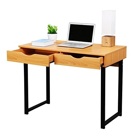 Amazon.com: LANGRIA Office Computer Desk Modern PC Laptop Table Study Home  Writing Desk With Drawers, Pear Wood Color: Kitchen U0026 Dining