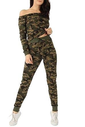 52a64edd96e8d8 Ladies Sweatshirt   Crop Top Lounge Suit Tracksuit Camouflage Army Print Off  The Shoulder Bardot 2