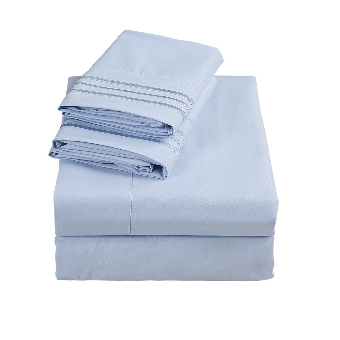 Emonia Twin Sheets Set ❤️ 4 pieces Bed Sheets-Microfiber Super Soft 1800 Series Deep Pocket Fitted Sheets-Wrinkle and Fade Resistant (Lake Blue, Twin)
