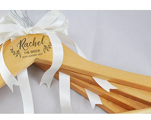 Personalised wedding bridal bridesmaid keepsake prom coat hangers white or wooden laser engraved no