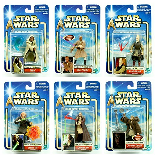 (JEDI MASTERS 6 Figure Pack * BUILD YOUR ARMIES * Star Wars 2002 Action Figure Set (Obi-Wan Kenobi, Qui-Gon Jinn, Mace Windu, Ki-Adi-Mundi, Nikto & Saesee Tiin))