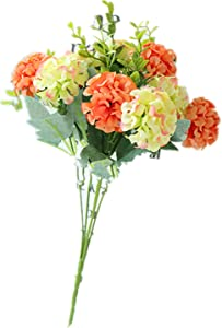 kaimimei Artificial Silk Hydrangea Flowers Bouquets-Faux Hydrangea Stems +Silk Hydrangea Heads with Stems for Home Wedding Decor (Green Coral)(vase not Include)